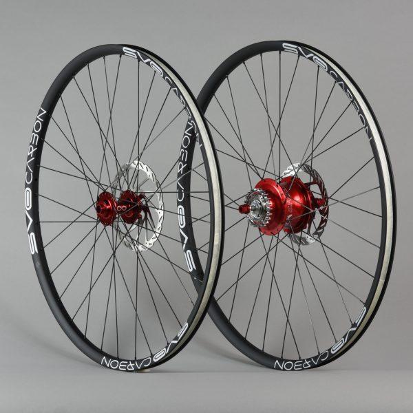 Paire de roues 29 pouces Rohloff carbone Rouge